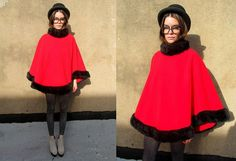 Red Furry Faux Fur Fleece Cape Poncho Mod New by SomeVelvetVintage, $50.00