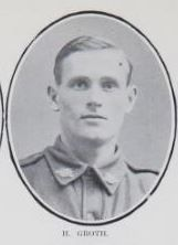 GROTH,   Herbert.   Signaller,   No.   602   7,   4th  Div.,   Wireless   Section,   late   9th   Battalion.   Born   and   educated   at   Tinana,   Maryborough,  and   is   the   son   of   George   Groth   and   the   late   Margaret   Groth,   of   Tinana.