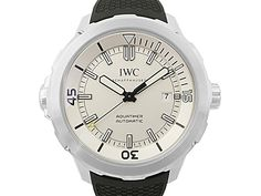 IWC Aquatimer 42MM Steel Watch, with a Silver-Plated Dial, Black Rubber Strap and Automatic Movement