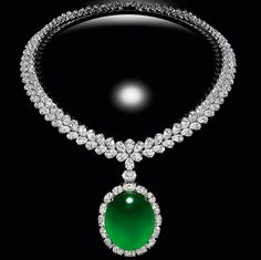 Cabochon Jade and Diamond necklace.