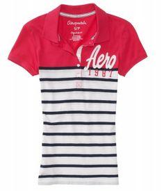 Polo Aéropostale Women's Colorblock Stripe Jersey Polo PINK PIZAZZ 6436 #Aéropostale#Polo