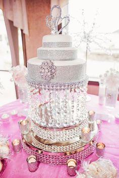 Featured Photographer: Melanie Bess Photography; Glamorous silver and white wedding cake