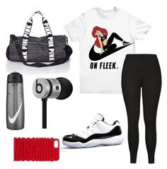 """""""Work Out"""" by urbanbella on Polyvore featuring NIKE, City Chic, Victoria's Secret PINK, Beats by Dr. Dre and Moschino"""