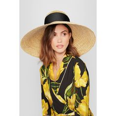 Eugenia Kim Mirabel grosgrain-trimmed woven straw sunhat ($505) ❤ liked on Polyvore featuring accessories, hats, beige, wide brim hat, sun hat, wide sun hat, woven hat and wide hat