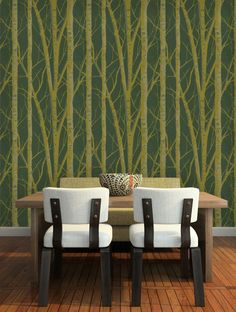 Create an authentic and elegant room with the Prestigious Wallpaper collection, available at Fashion Wallpaper. Fashion Wallpaper, Tree Wallpaper, Birch, Dining Chairs, Elegant, Room, Furniture, Home Decor, Dinner Chairs
