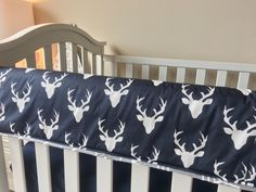Ritzy Baby Designs, LLC - Grey Arrows and Navy Deer Straight Crib Rail Cover, $75.00 (http://www.ritzybaby.com/grey-arrows-and-navy-deer-straight-crib-rail-cover/)