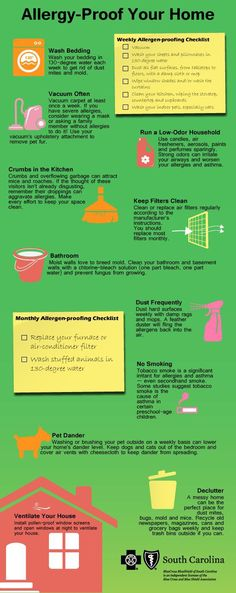"""South Carolina Blues - """"Allergy-Proof Your Home"""" Infographic - Asthma Treatment Asthma Remedies, Asthma Symptoms, Health Remedies, Home Remedies, Natural Remedies For Asthma, Congestion Relief, Asthma Relief, Chest Congestion, Allergy Asthma"""
