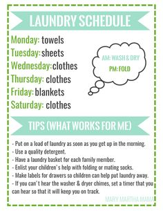 Laundry is an unpleasant undertaking if you are only doing your own, let alone cleaning all of your family's clothes. With this Laundry Schedule Free Printable, you can make that weekly task much more manageable. Laundry Schedule, Clean House Schedule, House Cleaning Checklist, Weekly Cleaning, Household Cleaning Tips, Cleaning Recipes, Diy Cleaning Products, Cleaning Solutions, Cleaning Hacks
