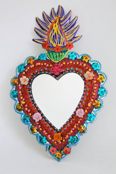 Sacred Heart tin metal mirror / Mexican folk art by TheVirginRose, $39.00
