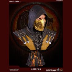 Get over here and take a look at the Mortal Kombat Scorpion Life-Size Bust. Killed by Sub-Zero and transformed into a demon of the Underworld, the ninja warrior Scorpion Mortal Kombat, Mortal Kombat Tattoo, Mortal Kombat 9, Pop Culture Shock, Shoulder Armor, Ninja Warrior, The Revenant, Fantasy Miniatures, Sideshow Collectibles