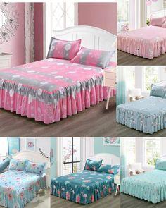 Sheet, Pillow & Duvet Cover Sets Room Decor Floral in 2020 Bed Sets, Bed Cover Sets, Teen Bedding, Bedding Sets, Mattress Covers, Duvet Covers, Cama Queen Size, Ruffle Bedspread, Bedclothes