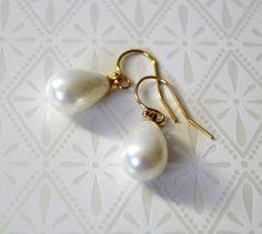 Pearl Drop Earrings Pierced or Clip White Pearl by Studio10102