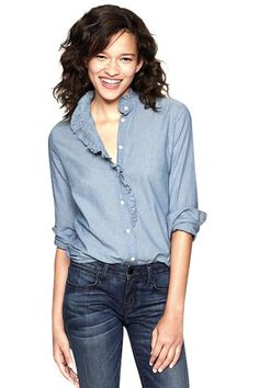 Got to get me some Chambray! Gap Fitted Boyfriend Chambray Ruffle Shirt, $54.95, available at Gap.