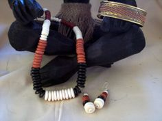 African Multi colored dyed buffalo bone necklace and earring set  CUFF BRACELET