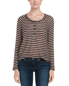 Spotted this Splendid Black Deco Stripe Knit Henley Top on Rue La La. Shop (quickly!).