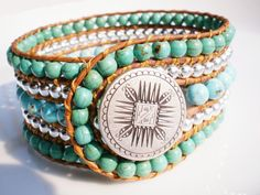 Beaded Leather Cuff Bracelet with Mayan Mandella Button