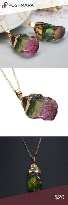 Gorgeous crystal necklace Super beautiful. Green and purple stone on a gold chain. Very flattering and looks great on Jewelry Necklaces