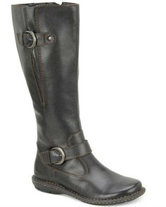 Crafted with a cushioned insole, the Faye boots are cute and comfortable. By b.o.c. - Leather upper - Round closed-toe wide-calf boots with buckle details - Comfort cushioned insole with man-made lini