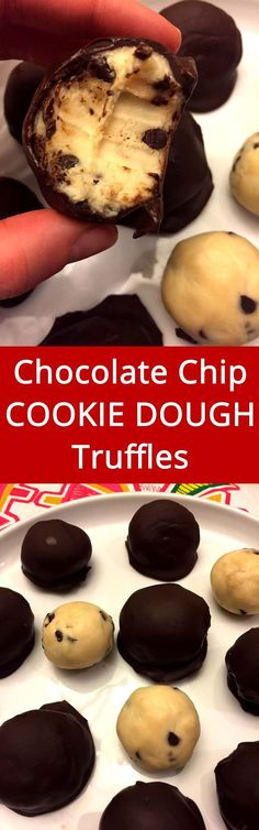 Chocolate chip cookie dough truffles - YUM! Edible cookie dough covered with dark chocolate, love this! | MelanieCooks.com