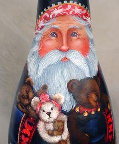 . Santas Bears Hand Painted Santa Gourd by InspiredEndeavours