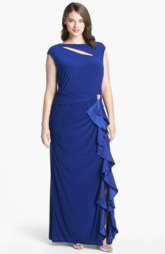 Betsy & Adam Satin Ruffle Jersey Gown (Plus Size) available at #Nordstrom