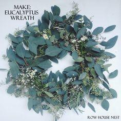Make your own Eucalyptus Wreath for $10 this holiday season - tutorial on Row House Nest