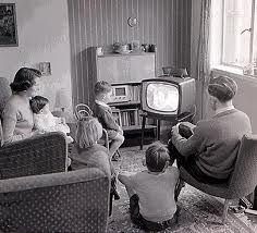 1950s lifestyle - Family TV time. Scan old photos with iPhone or iPad + Pic Scanner app https://itunes.apple.com/app/id1124131441