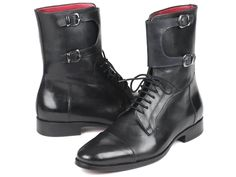 Paul Parkman Men's High Black Calfskin Boots Material: Calf-skin Leather Color: Hand-painted Black Hardware: Silver Outer Sole: Purple burnished leather sole Men's cap-toe high boots with buckles Bordeaux leather lining and inner sole Comes with Mens High Boots, Coronado Leather, Blue Button Up Shirt, High End Shoes, Driving Loafers, Designer Clothes For Men, Mens Caps, Penny Loafers, Calf Leather