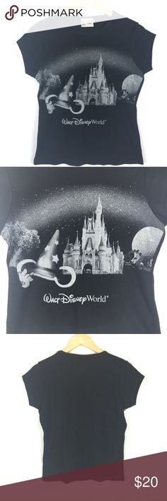 VTG Walt Disney t shirt Nice  original Disney t shirt  from Disney world in great condition graphic has a sparkle glitter to it large but would probably fit s- m best my option   FYI 📌📌📌📌📌 Things to keep in mind when shopping my closet  ✔️  all item come from a smoke free pet free clean home ✔️ all items shipped same day or next day unless its Friday orders will go out Monday  ✔️ open to offers I do not use the private offer system  ✔️ discounts on bundles  ✔️posh ambassador Disney Tops…