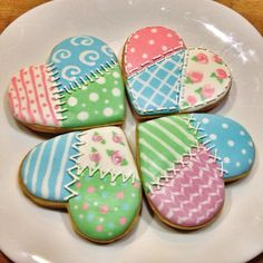 Royal Icing Patchwork Heart Cookies