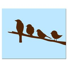 Birds on a Branch - 8x10 Silhouette Print - Perfect for Nursery - Choose Your Colors - Shown in Pink, Yellow, Gray, Blue, and More. $20.00, via Etsy.