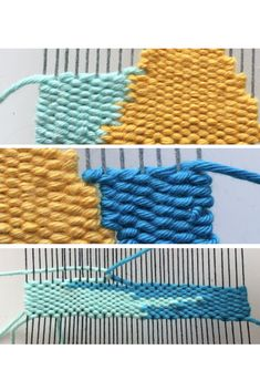 Warp interlocking, weft interlocking and slit weaving are basic weaving techniques perfect for beginner weavers to learn. In this tutorial, learn how to do all three basic weaving techniques. Weaving Loom Diy, Weaving Art, Weaving Patterns, Loom Weaving Projects, Knitting Patterns, Weaving Wall Hanging, Wool Wall Hanging, Tapestry Loom, Weaving For Kids