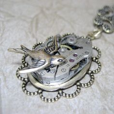 Steampunk Necklace - Golden Wonderland - Repurposed Watch Movement Jewellery - Handmade and Designed by A Second Time