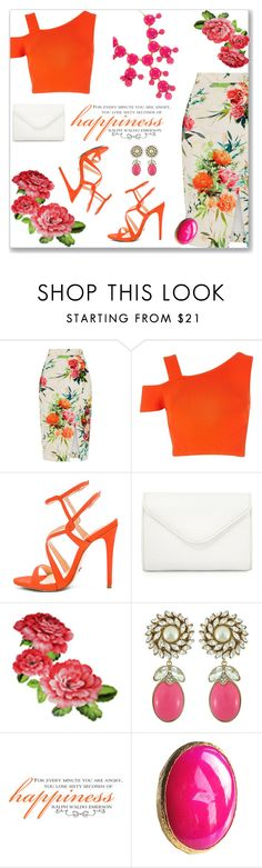 """OASIS Floral Pencil Skirt"" by kimzarad1 ❤ liked on Polyvore featuring Oasis, River Island, Schutz, Neiman Marcus, Ciner and Erica Lyons"