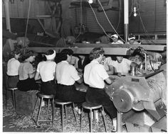 Bean sorters at the Sampson Canning Company, Vesper, Wisconsin, ca. 1950. Source: South Wood County Historical Corporation