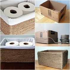 27 cosas que puedes reciclar y darles un doble uso en tu hogar DIY recycled cardboard box organizer for toilet paper was lined with white fabric and decorated with ribbon Home Crafts, Diy Home Decor, Diy And Crafts, Dyi Room Decor, Twine Crafts, Dollar Store Hacks, Dollar Stores, Diy Storage Boxes, Storage Ideas