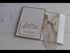 """Hier bastel ich mit Dir eine Hochzeitskarte, die mit einem Spitzenband und der Stanze """"gewellter Anhänger"""" einen eleganten Verschluß bekommt. Alle benötigten..."""