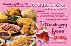 Pinned May 10th: Mom enjoys free strawberry pie Sunday at Shoneys coupon via The Coupons App
