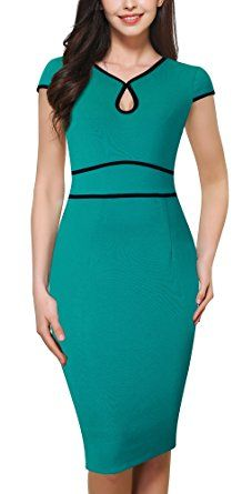 Shop HOMEYEE Women's Elegant Cap Sleeve V Neck Knee Length Bodycon Pencil Dress (UK 12 = Size L, Turquoise). Best Prom Dresses, Trendy Dresses, Stylish Outfits, Casual Dresses, Fashion Outfits, Formal Dresses, Super Moda, Work Dresses For Women, Dress Sewing Patterns