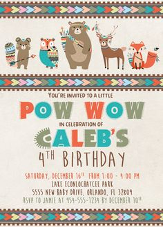 Items similar to Tribal Woodland Animals Birthday Invitation - Wild One Birthday Invitation - Woodland Animals Birthday Party - Wild and Free Invite on Etsy Cowboy Baby Shower, Wild One Birthday Invitations, Woodland Decor, Animal Birthday, Animal Party, Woodland Animals, 1st Birthday Parties, First Birthdays, New Baby Products