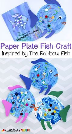 Paper Plate Fish Craft Inspired by The Rainbow Fish: a perfect read and craft bo. Paper Plate Fish Craft Inspired by The Rainbow Fish: a perfect read and craft book activity for kids The Rainbow Fish, Rainbow Fish Eyfs, Rainbow Fish Crafts, Rainbow Paper, Paper Plate Fish, Paper Plates, Paper Fish, Paper Plate Art, Paper Plate Animals