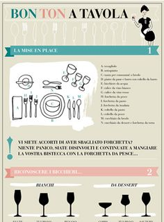 Gomiti a tavola, bocconi enormi o rumori da suzione di brodo: stare a tavola è un piacere, ma solo se accompagnato dalle buone maniere! Scopri il bon ton a tavola con la nostra infografica. Dining Etiquette, Little Bit, Learning Italian, Free Prints, Meal Planner, Healthy Habits, Problem Solving, Cool Kitchens, Buffet