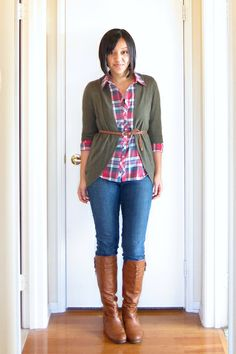 Plaid shirt with a neutral sweater
