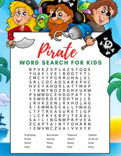 Free Pirate Word Search and Word Scramble for Kids