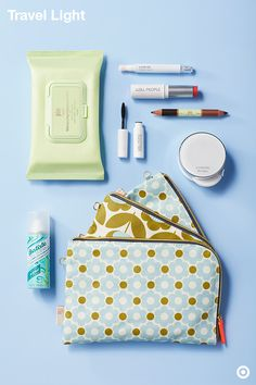 Passport? Check. Travel-ready makeup bag? Double check. These multipurpose, must-haves are all you need this summer to jet set like a pro. Here's what to pack: Pixi Cleansing Wipes; color-correcting Laneige Cushion Concealer; W3ll People Universal Multi-Stick (for lips, eyes and cheeks) and travel-sized mascara; double-sided, multipurpose Pixi Crayon Combo; 5-in-1 Laneige BB Cushion with SPF 50 Broad Spectrum Sunscreen; Batiste Dry Shampoo; and chic Orla Kiely bags to hold it all.