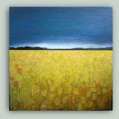 Canola Field - Original abstract landscape painting - custom order - select a size Abstract Landscape Painting, Watercolor Landscape, Landscape Art, Landscape Paintings, Art Paintings, Abstract Art, Texture Painting, Painting Techniques, Painting Inspiration