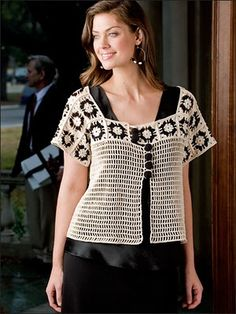 Pretty square motifs make up the sleeves and yoke of this cardigan