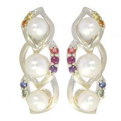 Rainbow Sapphire & Pearl Antique Style Earring $170 #earrings #jewelry #pearls