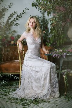 Cora wedding dress from Claire Pettibone wedding dresses 2016 - Beautiful wedding dress with lace overlay -  see the rest of the collection on www.onefabday.com