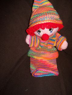 Hand Knitted Clown Puppet by Itsybitsytutushop on Etsy, $15.00